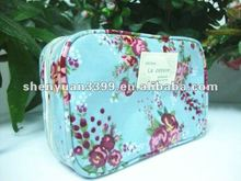 Classical canvas with PVC coating lady's cosmetic bag