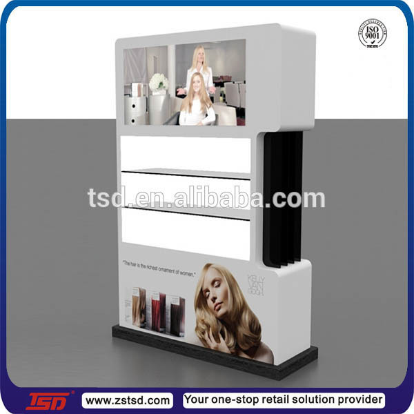 TSD-W566 Chain store wooden display cabinet for hair dye/3 tiers paint MDF display cabinet for rinse/shelf for hair color dye
