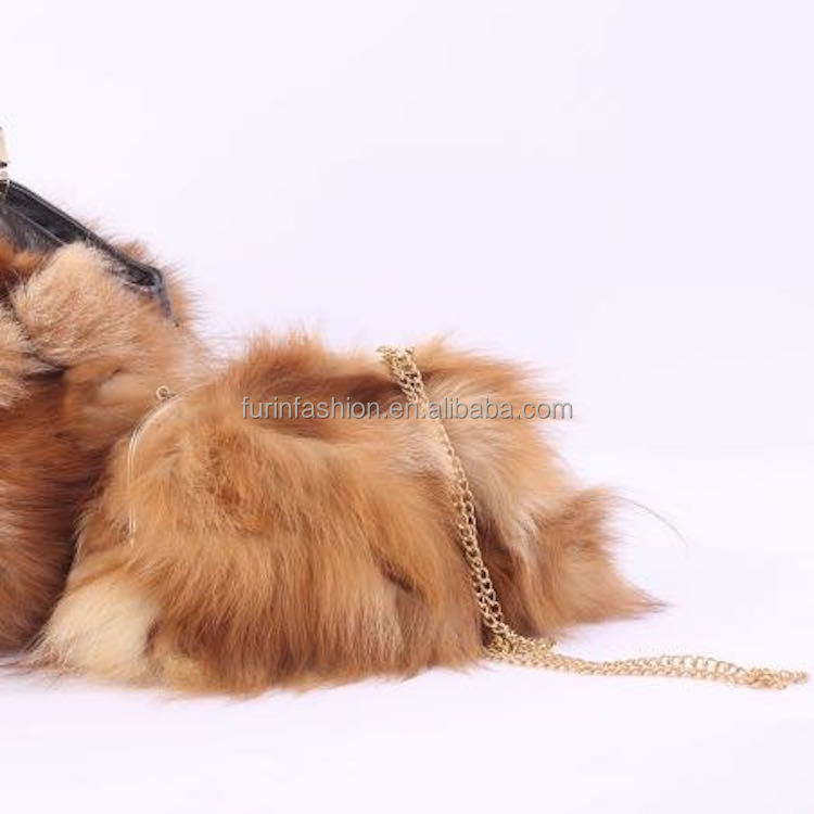 New Style Genuine All Match Cow Leather Handle Satchel Bag/Fox Fur with Detachable Golden Chain Fur Bag