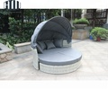 China Factory Cheap Patio Rattan Daybed With Canopy, Rattan Outdoor Round Sunbed