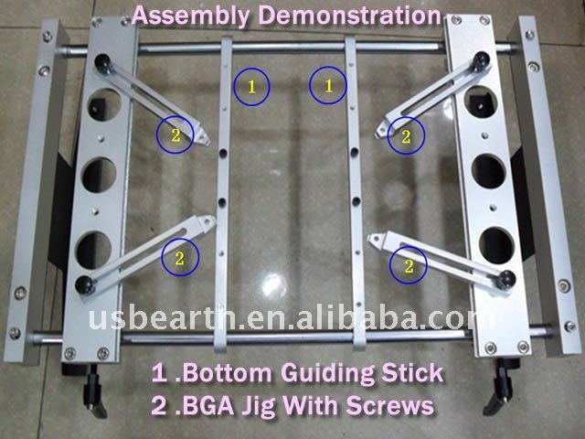 BGA fixture with screws (x 4pcs) & Bottom support clamp (x2pcs),BGA Gig For IR 6000, IR9000 rework station,
