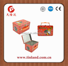 wholesale custom aluminum rectangular multicolor tin box with lock for candy packing