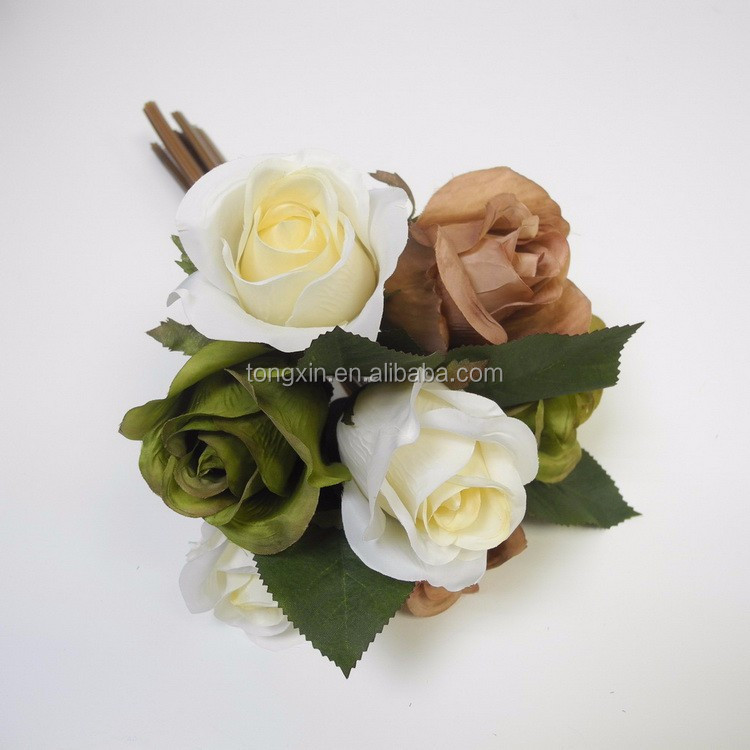 wholesale silk cloth flower for home and wedding decoration fake rose flower bouquet