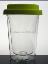 400ML double-layer glass cup , clear glas cup in high quality boroslicate glass with silicone lid