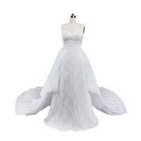 Latest Design SHMY-W301 Sweetheart Neckline Lace Appliqued Aline Wedding Dress Bridal Gown with Shawl Vestidos De Noiva