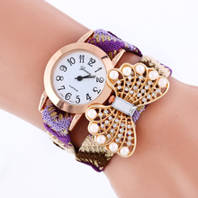 2015 New Design Women Bracelet Decoration Quartz Wrist Watch Design Butterfly Ornaments Leather warp Gift watch