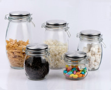 CCP245T4 glass storage jar for food with stainless steel lid and clip and silicon seal ring