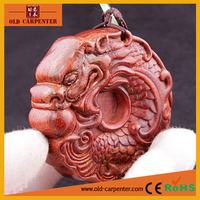Latest Flat Fish&dragon craft hand massager wooden carving