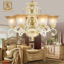 European-style wrought iron resin chandelier lamp for villa 6829