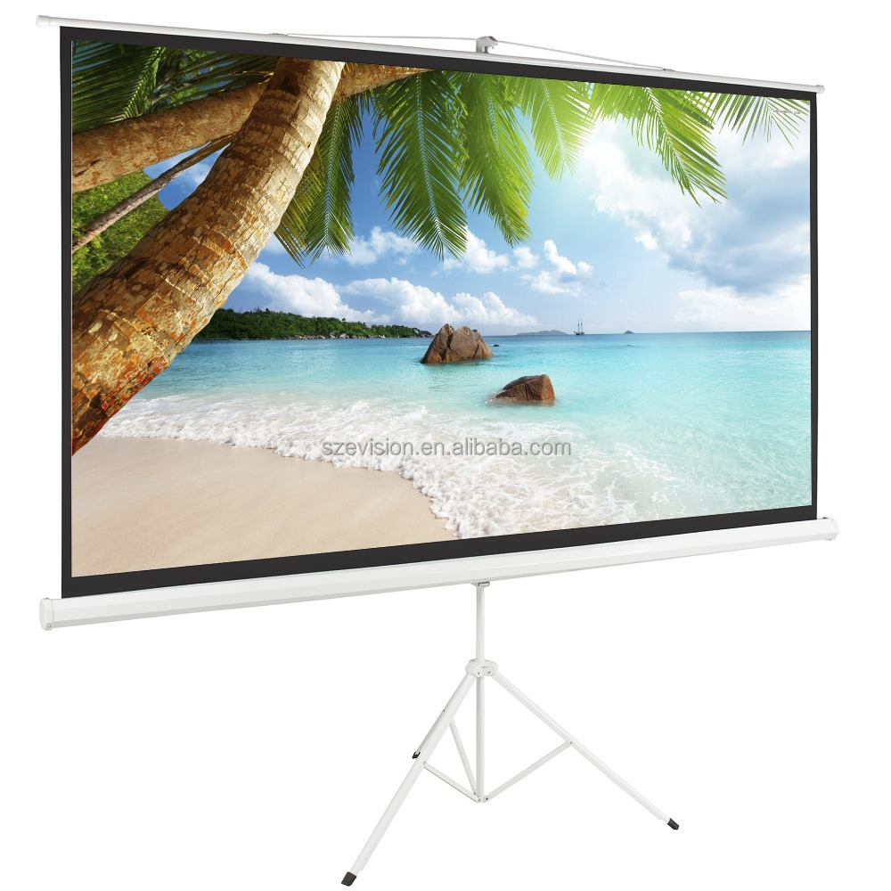 White and Black Portable Tripod Standing Projector Screens
