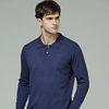 IMF Cashmere Men's 100% Pure Cashmere Button Mock-Neck Polo Collar Sweater Knitted Pullover