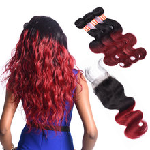wholesale Ombre 1b/burg Color 3bundles Body Wave virgin hair bundles with lace closure