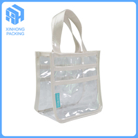 High quality pvc transparent handle bags with white piping /clear pvc shopping bags