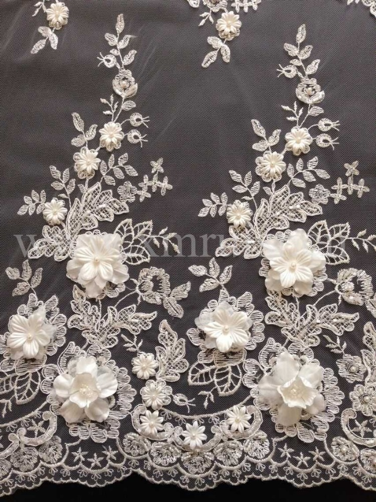 3D handmade flowers embroidery beaded lace for dress