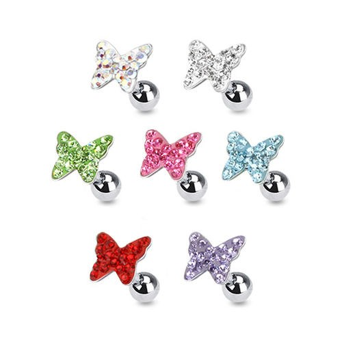 Beautiful multi gems butterfly ear stud body jewlery ear tragus piercing