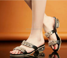 L1198A Women Summer lower Heels platform beach rhinestone sandals Flip Flops slippers