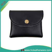 Trending Hot Products Lady Mini Ultra - thin Black Leather Pocket Change Purse