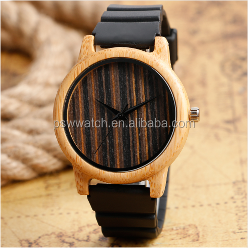 Creative Bamboo Wood Watch Simple Mens Minimalist Silicone Band Strap Wooden Quartz Handmade Reloj de madera