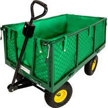 Metal nursery garden mesh cart with fold down sides