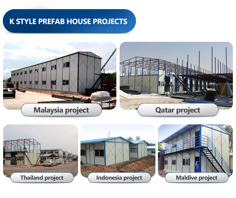 Export to southeast Asia 2000 square meter 2- storey portable K house