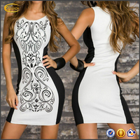 Women Retro Printed Black White Patchwork Casual Summer Dress Party Dresses