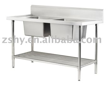 working table with double sinks
