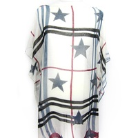 100% polyester scarf plaid stripes and stars printing poncho with tassels