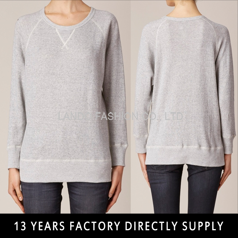 Simple Design Knit Latest 100 % cotton Long Sleeve grey Tops