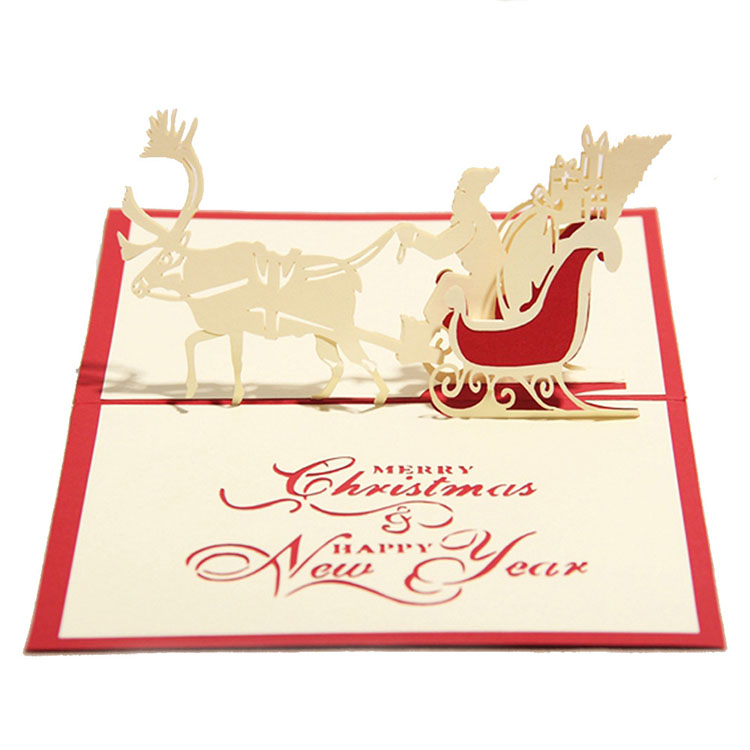 Custom Made Creative Hollow Reindeer Gift Red Dimensional Christmas Card