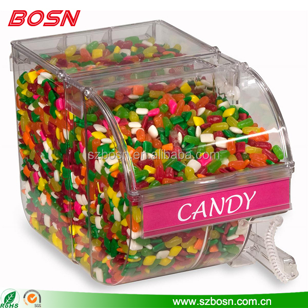 Round face lucite 3 Gallon Acrylic Candy Bin perspex chocolates box with scoop and label holder