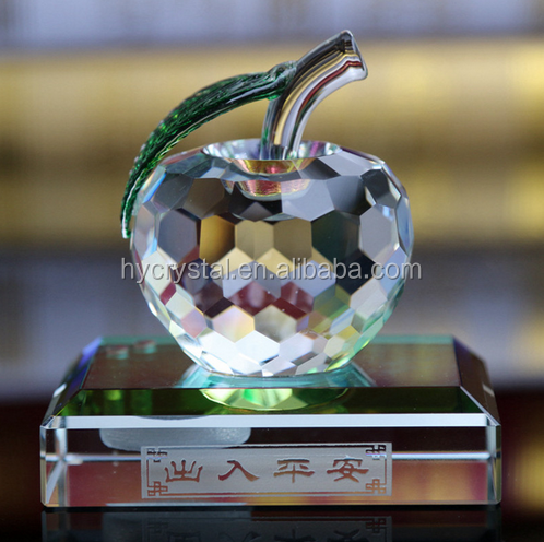 unique islamic crystal gift of clear crystal apple gift for car decor