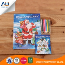 Kids christmas design coloring filling book with colorful pencil