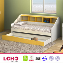 MDF hot sale white Indoor kids double deck bed with storage