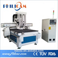 woodworking cnc router with 3 spindles to cutting and drilling/ wood hole cutting machine