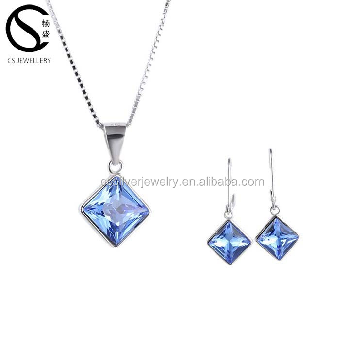 E-7375 925 Fashionable Jewelry Elegant and Classic Square pendant Jewelry Set