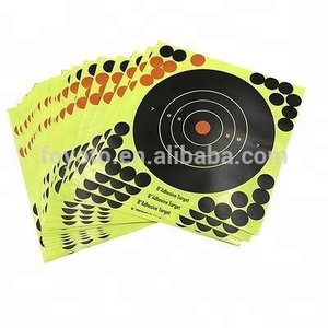 Splatterburst Targets - 8x8 inch (5) Bullseye Reactive Shooting Target - Shots Burst Bright Fluorescent Yellow Upon Impact -