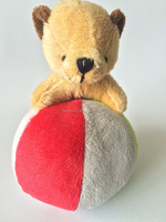 plush baby hand rattle bear with soccer ball