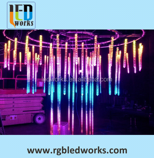 dmx led snow drop lights ceiling 3d kinetic ceiling light,32pixels dmx 3d tube for concert