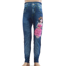 Children girl wear printed tight jeans pants