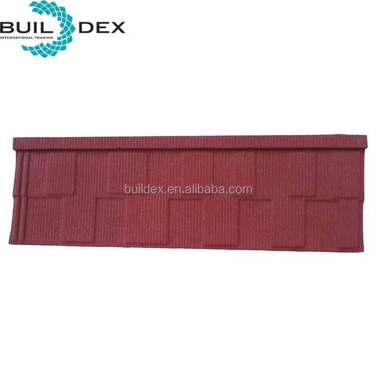 Chinese wholesale stone chip coated red color metal shingle roof tiles for south Africa