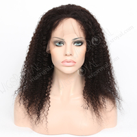 18 inch 1b# human hair kinky curly full lace wigs for black women