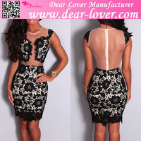 Beautiful new style black sleeveless mesh lace crochet dress for sexy young lady