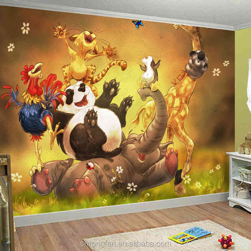 Decor Wallpaper Simple Design For Kids Room,Cartoon Characters Wall Paper