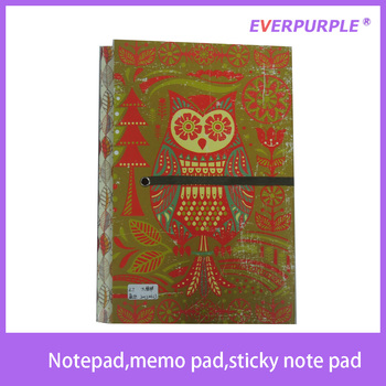 2015 high quality owl design cute printing notepad,sticky note pad,sticky notes set with elastic band