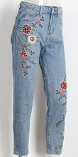 Women's Vintage Jeans Retro Floral Embroidered Straight Pant Skinny Female Denim Jeans