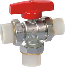 2 inch nickel plated three way forged PP-R brass ball valve