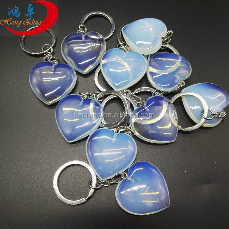 CHRISTMAS SPECIAL Natural Opal Hearts shaped key /Gemstone custom word keychain
