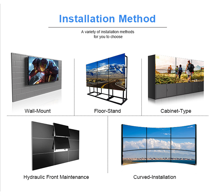 Customized 55 Inch 4k 1.7mm Narrow Bezel FHD Digital Display Screen Smart Lcd Video Wall for Exhibition Professional