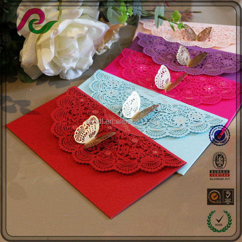 Western-style slap-up iridescent paper butterfly decoration wedding invitation envelope