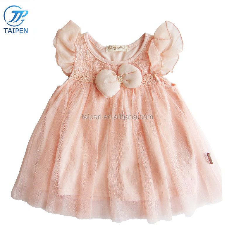 2017 Summer Girls Flutter Sleeve Lace Tutu Dress With Two Layer Mesh Frock Design For Baby Girls